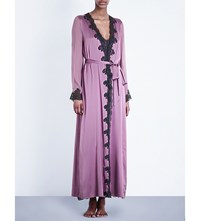 Myla Heritage Silk Stretch Silk Satin Maxi Robe Mauve Slate