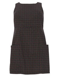 Samya Plus Size Dotted Shift Dress Black