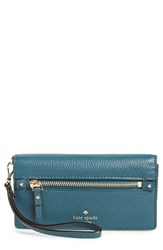 Kate Spade Women's New York 'Cobble Hill Rae' Leather Wristlet Wallet Green Emerald Forest