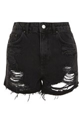 Topshop Petite Longline Ripped Mom Denim Shorts Washed Black