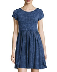 French Connection Beach Jersey Gathered Skirt Dress Dark Blue