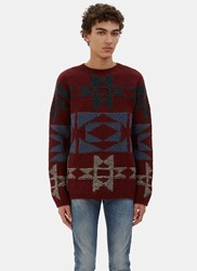 Valentino Patterned Cashmere Knit Sweater Burgundy