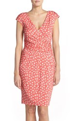 Women's Adrianna Papell Bird Print Knit Sheath Dress Light Coral
