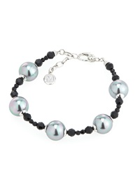 Majorica Gray Round Pearl And Black Crystal Bracelet