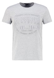 Redskins Heracles Calder Print Tshirt Grey Chine Mottled Grey