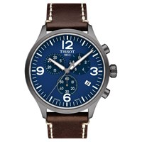 Tissot T1166173604700 Men's Chronograph Date Leather Strap Watch Brown Blue