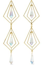 Mercedes Salazar Gold Plated Crystal Earrings One Size