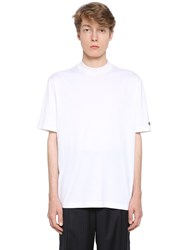 Lanvin High Collar Cotton Jersey T Shirt White