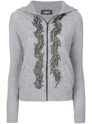 Jo No Fui Embellished Hooded Cardigan Polyamide Polyester Cashmere Glass S Grey