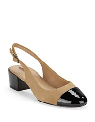 Tahari Express Cap Toe Sling Backs Fawn Black