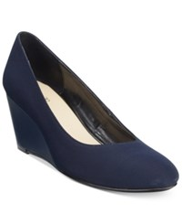 Taryn Rose Tr Katrina Wedge Pumps Only At Macy's Women's Shoes Navy Stretch