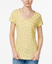 Maison Jules Printed V Neck T Shirt Only At Macy's Maize Gold Combo