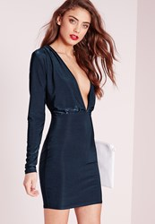 Missguided Slinky Long Sleeve Bodycon Dress Navy Blue