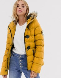 Brave Soul Wizard Padded Coat With Faux Fur Hood Yellow