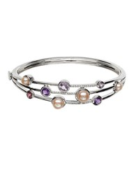 Lord And Taylor Sterling Silver Fresh Water Pearl Diamond Bangle