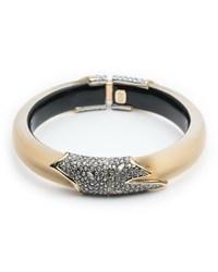 Alexis Bittar Crystal Encrusted Feather Hinge Bracelet Golden