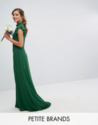 Tfnc Petite Wedding Flutter Sleeve Fitted Maxi Dress In Chiffon Forest Green