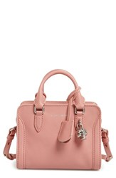 Alexander Mcqueen 'Mini Padlock' Calfskin Leather Duffel Bag Pink Fox Glove