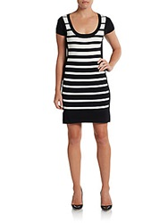 Saks Fifth Avenue Black Cap Sleeve Striped Sheath Dress Black White