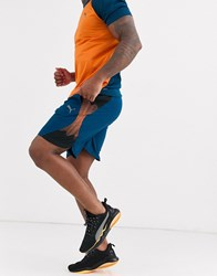 Puma Running Shorts In Blue With Side Panel