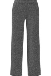 Missoni Cropped Metallic Knitted Straight Leg Pants Silver