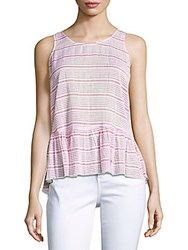 Beach Lunch Lounge Striped Peplum Tank Top True Red