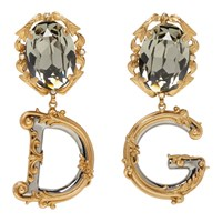Dolce And Gabbana Gold Dg Crystal Engraved Earrings