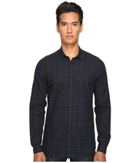 The Kooples Classic Fit Dark Room Shirt Blue Grey Men's Long Sleeve Button Up