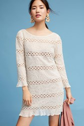 Anthropologie Laced And Beaded Dress Ivory