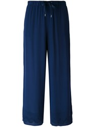 Red Valentino Cropped Trousers Women Silk Cotton 42 Blue