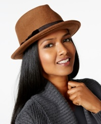 Nine West Felt Wide Crown Fedora Camel