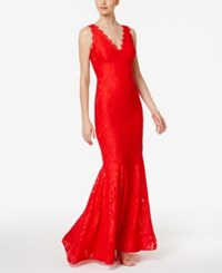 Betsy And Adam Lace V Neck Mermaid Gown Red