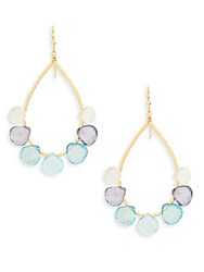 Eva Hanusova Gem Rush Blue Topaz Moonstone Natural Zircon And 14K Gold Fill Teardrop Earrings