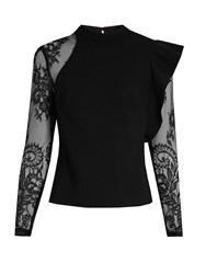 Self Portrait Ophelia Ruffled Lace Sleeved Blouse Black