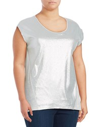 Jones New York Plus Alpha Roundneck Sequin Top Grey