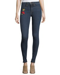 Veronica Beard Kate 10 Mid Rise Skinny Jeans W Patches Blue