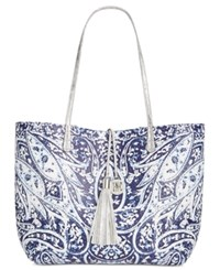 Inc International Concepts Reversible Large Faux Leather Tote Only At Macy's Blue