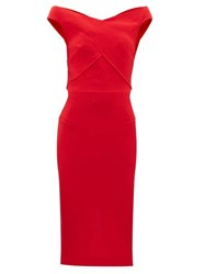 Roland Mouret Amarula Off The Shoulder Wool Crepe Dress Red