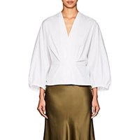 Narciso Rodriguez Puff Sleeve Cotton Poplin Blouse White