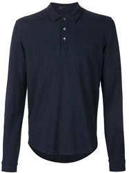 Atm Anthony Thomas Melillo Atm Long Sleeved Polo Shirt Blue