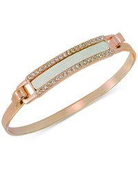 Guess Rose Gold Tone Faux Leather And Crystal Hinged Bangle Bracelet