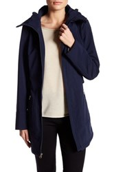 Jessica Simpson Belted Soft Shell Jacket With Hood Blue