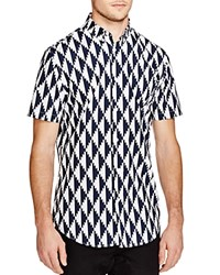 Zanerobe Edge Graphic Regular Fit Short Sleeve Button Down Shirt Dark Navy