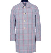 Thom Browne Reversible Prince Of Wales Checked Cotton Blend And Shell Coat Storm Blue