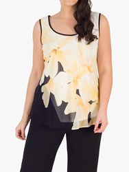 Chesca Chiffon Floral Print Cami Top Black Yellow Ivory