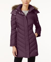 Kenneth Cole Faux Fur Trim Chevron Quilted Down Coat Concord