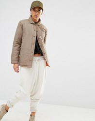 Daisy Street Lightweight Jacket With Contrast Lining And Zip Detail Stone Khaki Green