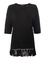 Maison Scotch Fringed Knitted Top Black