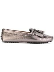 Tod's Gommino Loafers Women Calf Leather Leather Rubber 41 Metallic