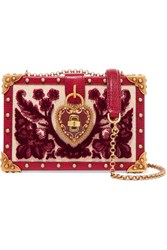 Dolce And Gabbana Box Embellished Lizard Effect Leather Red